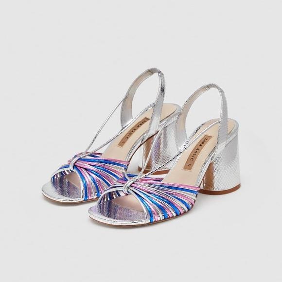 020bdddb4f1 Zara silver strappy high heel sandals